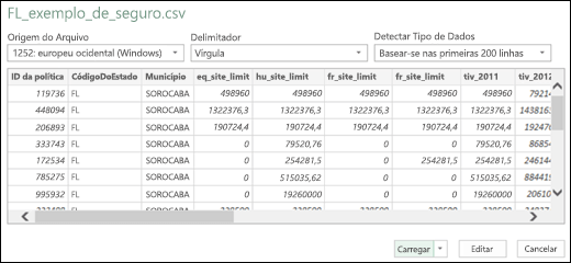Caixa de diálogo de conector de Texto/CSV aprimorado do Power BI do Excel