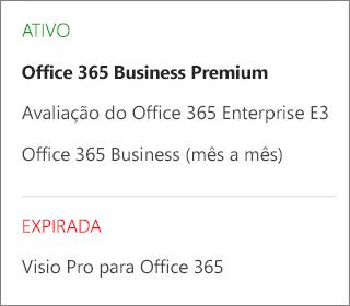 A página Assinaturas do Centro de administração do Office 365, mostrando uma lista de várias assinaturas agrupadas de acordo com seus status.