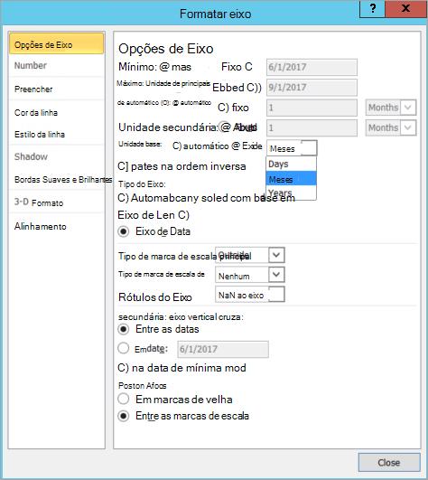 Caixa de diálogo Formatar eixo com a unidade Base fixa selecionada