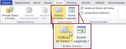 O grupo Exibir Dados na guia Dados da faixa de opções do Visio 2010.