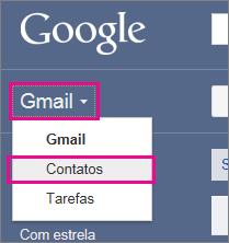 Gmail do Google – Clique em Contatos