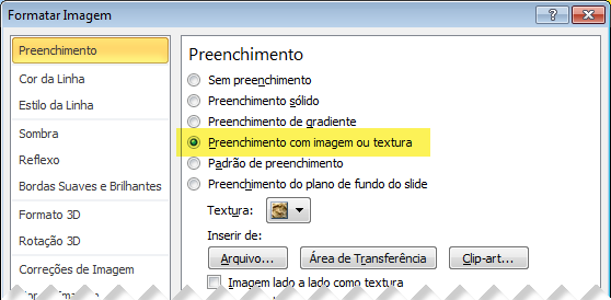 Caixa de diálogo Formatar Imagem