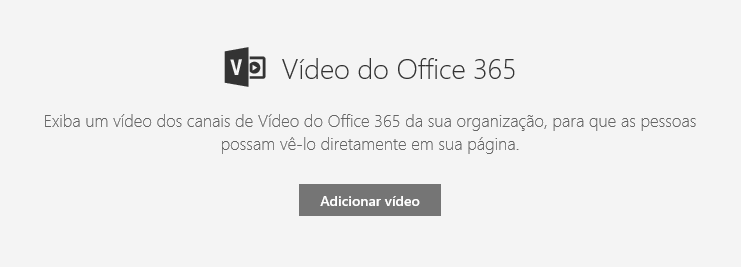 Captura de tela da caixa de diálogo Adicionar vídeo do Office 365 no SharePoint.