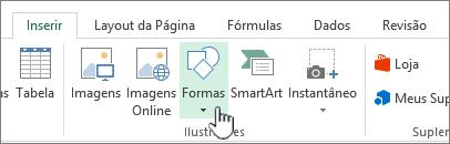 Botão Inserir formas do Excel