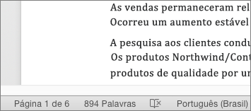 Na parte inferior do documento, na barra de status, o número total de palavras é exibido.