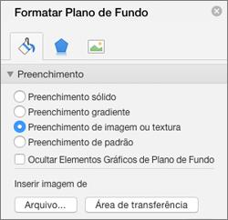 Opção Preenchimento de Imagem no painel Formatar Tela de Fundo