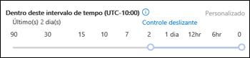 Intervalo de tempo do controle deslizante em um novo Rastreamento de Mensagem no Centro de Conformidade e Segurança do Office 365