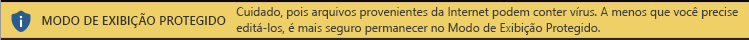 Modo de Exibição Protegido para documentos da Internet