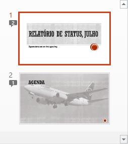 Símbolos com numerais indicam a presença de comentários nos slides