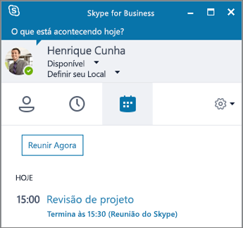 Captura de tela da guia de Reuniões da janela do Skype for Business.