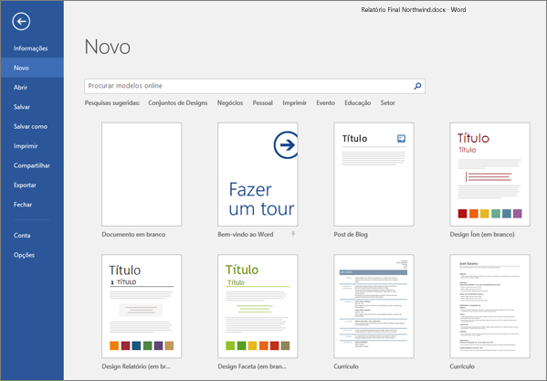 Uma lista de modelos do Word disponíveis é exibida.