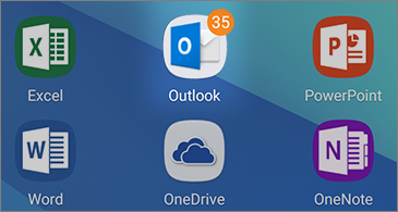 Seis ícones de aplicativos, incluindo um ícone do Outlook mostrando o número de mensagens não lidas no canto superior direito
