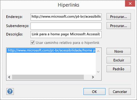 Caixa de diálogo de hiperlinks para adicionar uma descrição para um link no Visio.