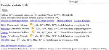 Exibição de dados do MSN Clima