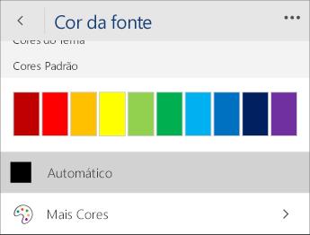 Captura de tela do menu Cor da Fonte com a opção Automático selecionada.