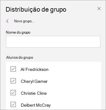 Selecione as caixas de seleção ao lado dos nomes dos alunos.