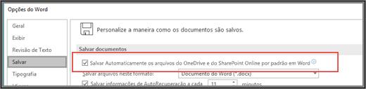 Caixa de diálogo Arquivo > Opções > Salvar mostrando a caixa de seleção para habilitar ou desabilitar o salvamento automático