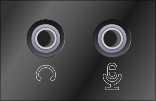 tomadas do sistema de som de fone de ouvido e microfone