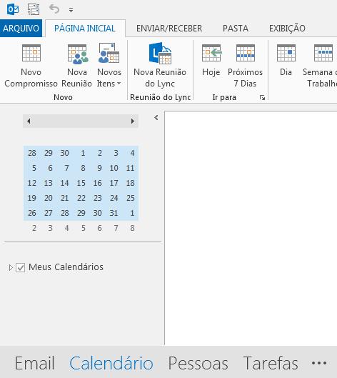 O link para o Calendário está localizado na parte inferior da tela.