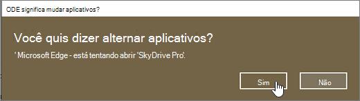 Caixa de diálogo alternar aplicativo do Windows 10 Edge browser com Sim realçado