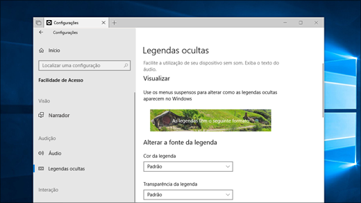 Configurações de legenda oculta no aplicativo Configurações.