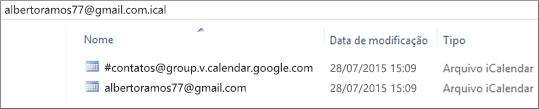 Imagem da aparência do calendário exportado após descompactar.