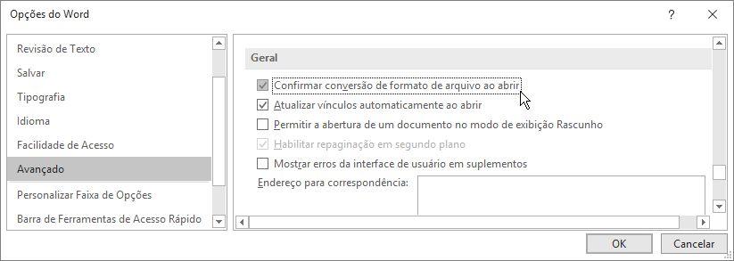 Opção Confirmar conversão de formato de arquivo ao abrir