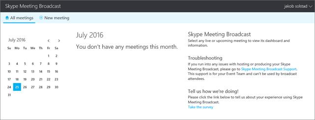 Uma imagem do portal de Transmissão de Reunião do Skype