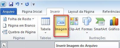 botão inserir imagem