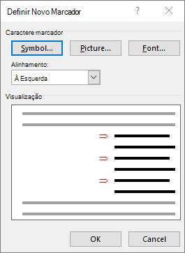 Definir novo marcador tela com setas