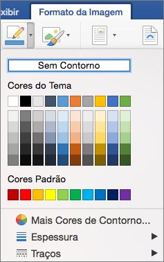 As cores de contorno de uma borda de imagem são exibidas.