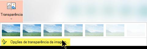 Opções de transparência da imagem permitem escolher um nível personalizado de opacidade para uma imagem