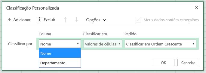A caixa de diálogo personalizada com a coluna ordenar por linha está selecionada na coluna 'Nome'