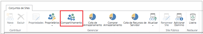 faixa de opções da central de administração do SharePoint Online com o botão Compartilhamento realçado