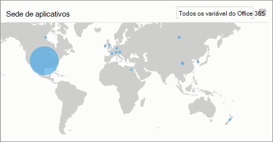Captura de tela mostra a seção de aplicativos Discovered no painel de descoberta de aplicativo de produtividade do Centro de conformidade & segurança do Office 365. Examine todos os aplicativos em uma categoria específica, escolhendo uma categoria da lista suspensa (como armazenamento em nuvem).