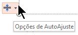 A ferramenta de opções de AutoAjuste é exibida quando um espaço reservado é preenchido com texto