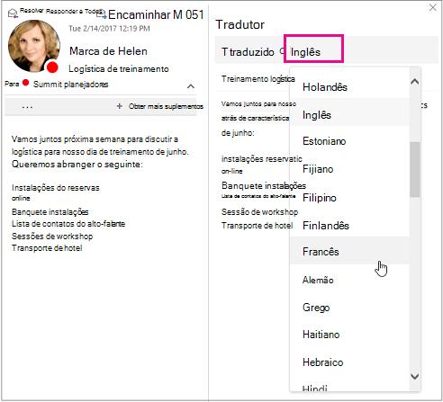 Selecione o idioma para o qual você vai traduzir o texto da sua mensagem