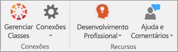 Lista de ícones incluindo Gerenciar Classes, Conexões, Desenvolvimento Profissional, Ajuda e Comentários.