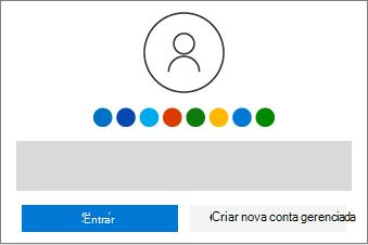 Mostra os botões para fazer login ou criar uma nova conta.