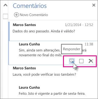 Imagem do comando Responder sob o comentário no painel Comentários do Word Web App.