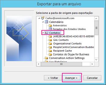 Selecione os contatos que você deseja exportar.