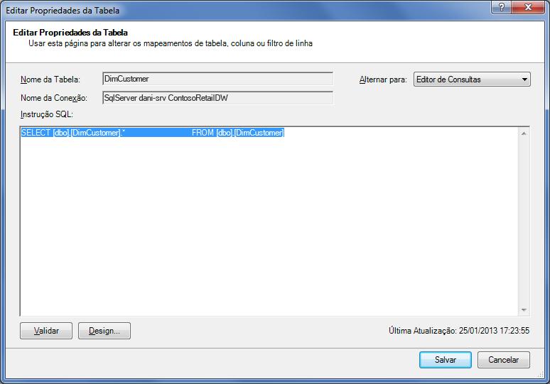 Consulta SQL usando a sintaxe padrão e mais curta