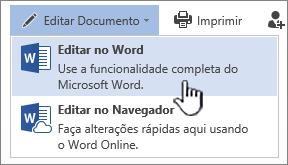 Documento do Word aberto da biblioteca do SharePoint com Editar no Word realçado