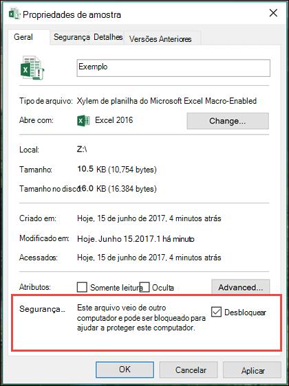Clique com botão direito seu arquivo no Windows Explorer para desbloquear as macros.
