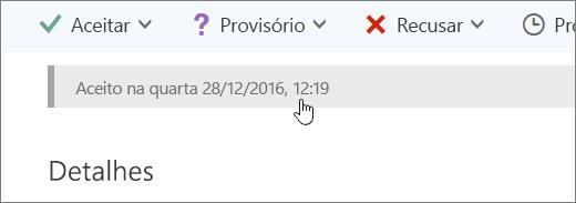 Uma captura de tela mostrando que o evento de calendário foi aceito.