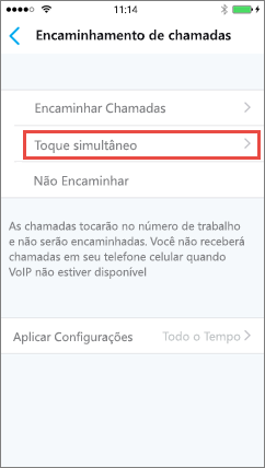 Skype for Business para iOS: Tocar simultaneamente na tela