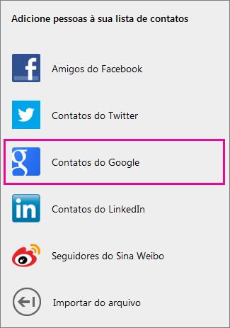 Opções para a adição de contatos do Google