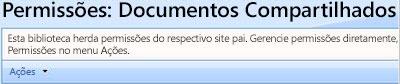 Página de permissões para a biblioteca de documentos compartilhados.