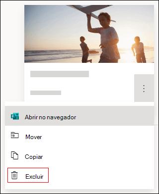 Opção Excluir em um formulário no Microsoft Forms.
