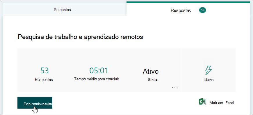 Botão exibir resultados na guia respostas de um formulário no Microsoft Forms